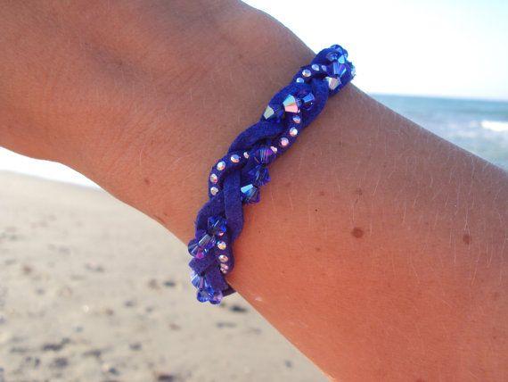 Blue Braided leather bracelet with Swarovski crystals