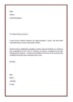 Personal Letter of Recommendation Template | ... Microsoft Word 2011 11 30 23 13 53 Character Reference Letter Template