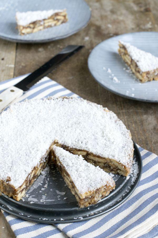 Dadeltaart | Met suiker | De lekkerste | No bake | via brendakookt.nl