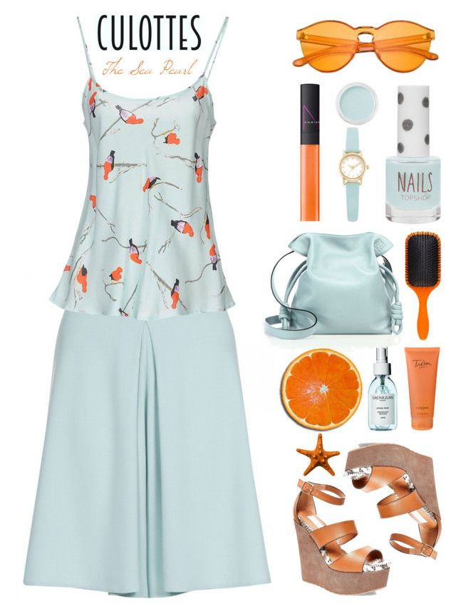 """Chic Culottes: Orange & Mint Crush"" by theseapearl ❤ liked on Polyvore featuring Sam Edelman, Menbur, Hakusan, Lacoste, ComeForBreakfast, Topshop, Kate Spade, Bare Escentuals, Denman and Steve Madden"