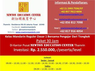 newtonmandarin.com: Kabar Terbaru: Dibuka Kelas Mandarin Reguler Tingk...