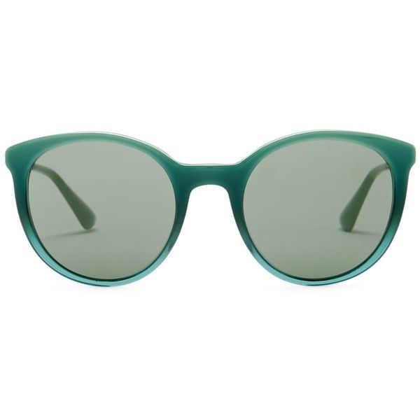 Prada Women's Retro Plastic Frame Sunglasses ($100) ❤ liked on Polyvore featuring accessories, eyewear, sunglasses, green gradient, retro glasses, prada glasses, plastic lens glasses, retro style glasses and green sunglasses