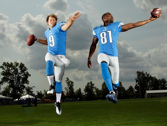 #Detroit #Lions quarterback Matthew Stafford and wideout Calvin Johnson grace the cover of SI's #NFL 2012 Preview issue. Click for some outtakes of the magazine's photoshoot with the duo.