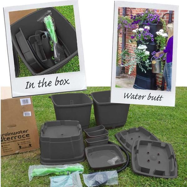 Our beautiful water butt kits by Rainwater Terrace come complete with a water butt stand and a rainwater diverter.Everything you need to get started saving rainwater is included in the box. The Rainwater Terrace comes with a robust hea...