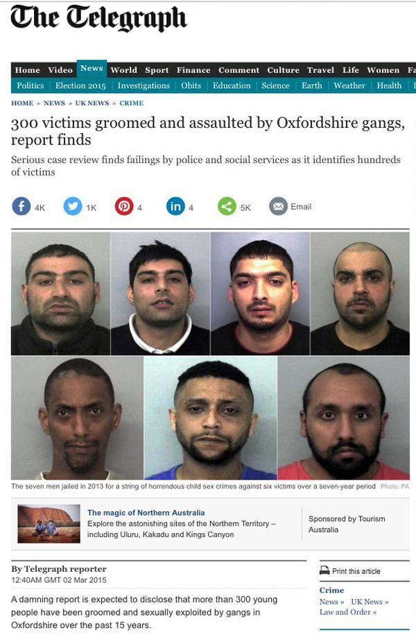 Honderden meisjes uit de omgeving van de Britse universiteitsstad Oxford zijn mogelijk ten prooi gevallen aan seksueel misbruik door bendes moslims. Volgens een onderzoekscommissie werden in zestie...