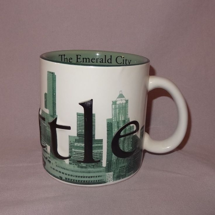 Seattle Starbucks Green Coffee Mug 18 oz Cup Ceramic The Emerald City  #Starbucks