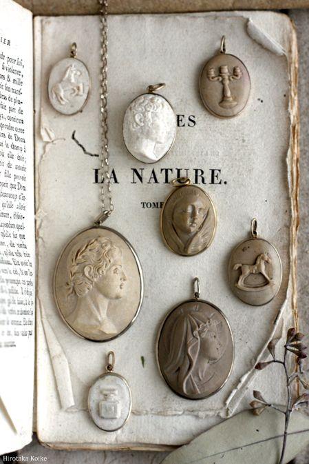 Antique cameo collection display @rubylanecom www.rubylane.com