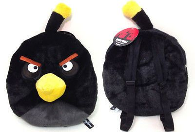 "Rovio Angry Bird/Angry Birds Space Mean Black 14 "" Plush Backpack Tote- NEW!"