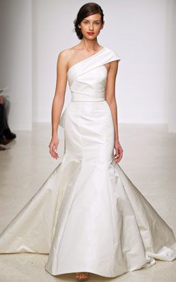 amsale - wedding dress - bridal - amsale collection - spring 2013 - harbor - silk radzmir, strapless silk radzmir fit and flare one-shoulder gown with exaggerated back bow, available in ivory and white