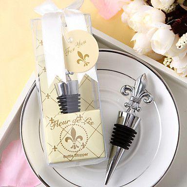 Chrome Fleur de Lis Wine Bottle Stopper 60PCS/LOT wedding favors guest gifts Free shipping $117.00
