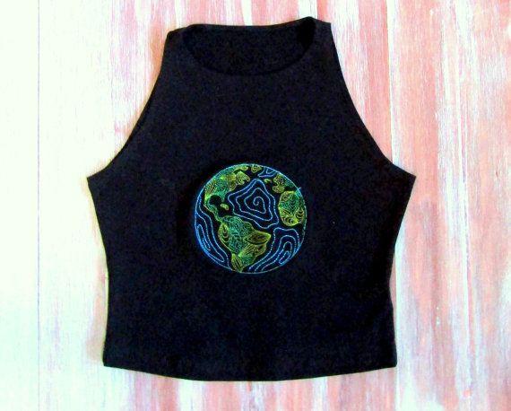 Earth Crop Top-Black Yoga Crop Top-Hipster Crop by ZellyaDesigns