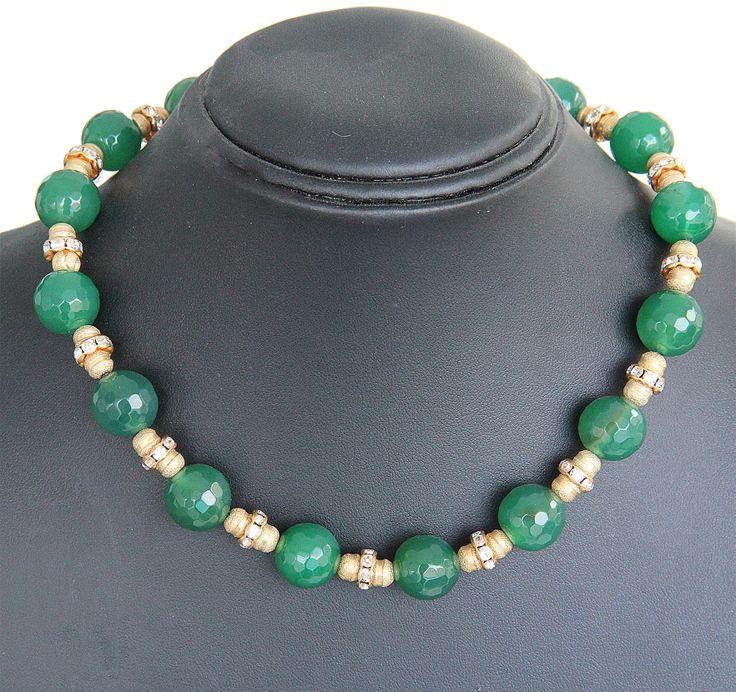 PEZZO UNICO - Boulle in agata verde, rondelle di strass Swarovski, elementi in metallo
