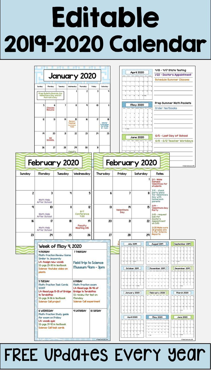 2020 2021 Calendar Printable And Editable With Free Updates In