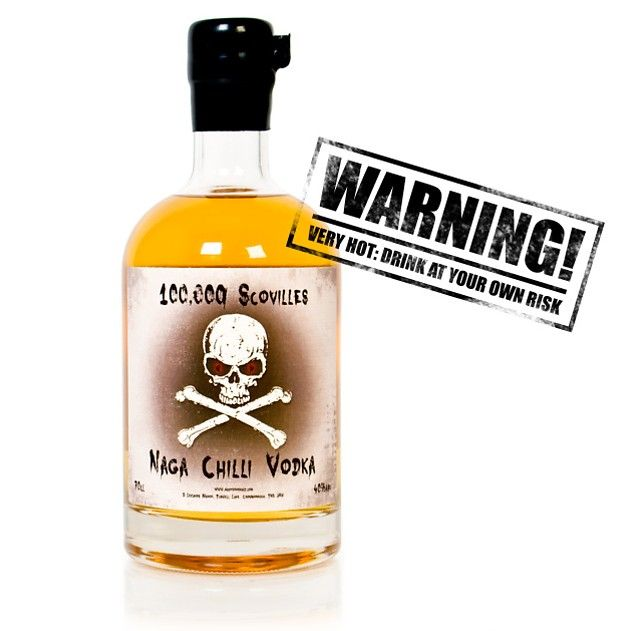 Hot Vodka  Naga Chilli Vodka is rated at 100,000 Scovilles. If you're unfamiliar with the Scoville scale, that means it's about 15-30 times hotter than a jalapeno.