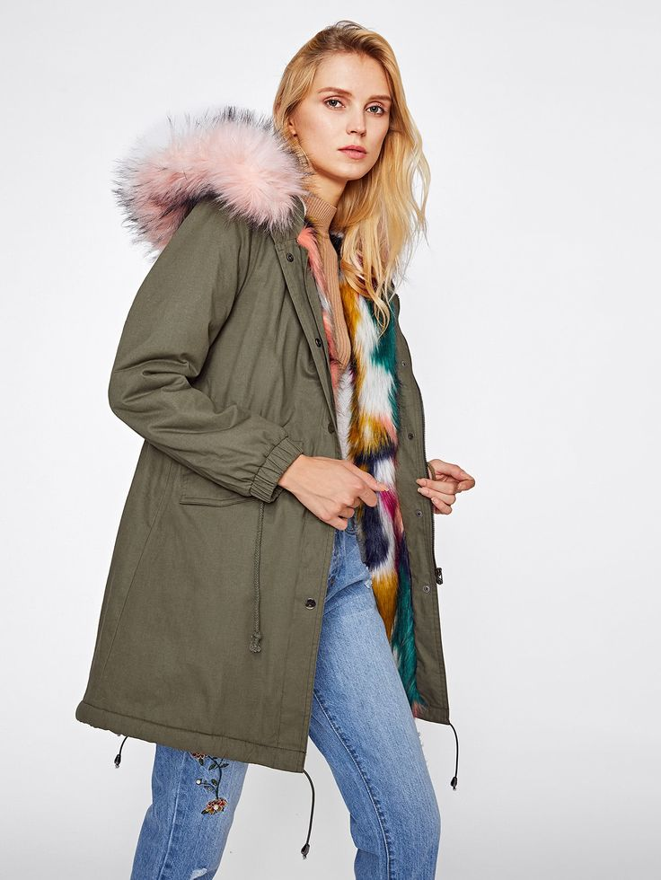 Faux Fur Trim Split Back Parka Coat, parka, hooded parka, fur hooded parka, winter coat with hood, faux fur hood, fur hooded coat