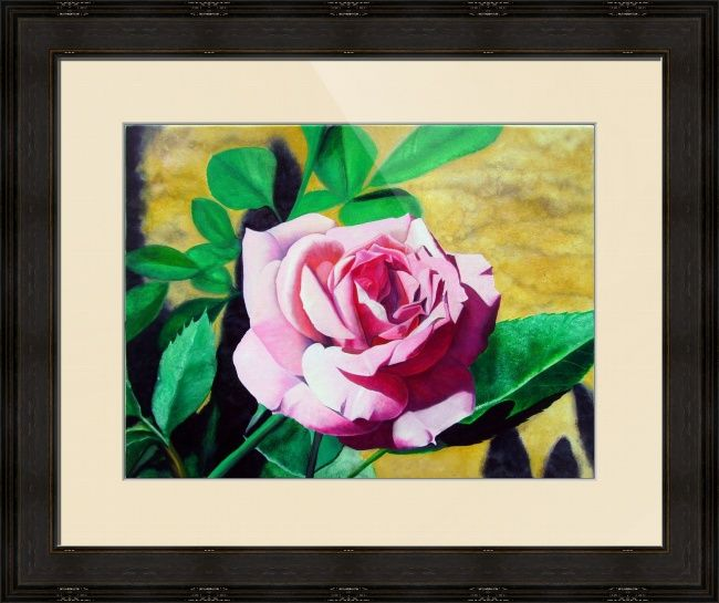 """""""Little Pink Rose"""" by Matthew Bates, Firenze, Italy // Matthew Bates likes to make paintings of flowers from his garden. This relaxing subject makes the perfect 'Little' gift for any occasion.When you buy this or any other of my Imagekind(TM) prints, send them to me and I will personally sign the print and send it back to you wi... // Imagekind.com -- Buy stunning fine art prints, framed prints and canvas prints directly from independent working artists and photographers."""