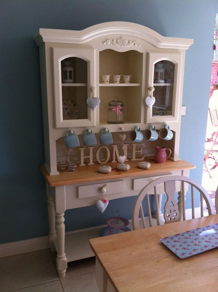 STUNNING SHABBY CHIC PINE WELSH DRESSER IN LAURA ASHLEY WHITE