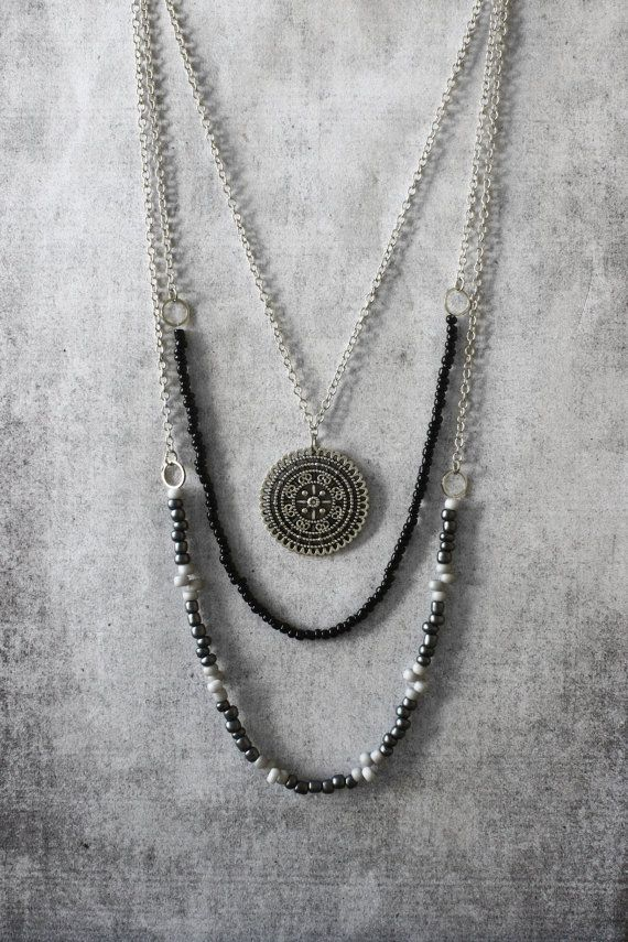 Boho style layered handmade necklace for woman. Three layers of beads & stainless steel chains witth beautiful mandala pendant. A wonderful gift