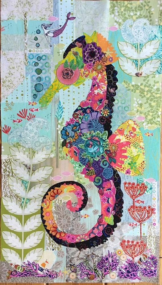 Seahorse Collage Wall Hanging Overview Mini Havana Is Smaller Version Of Lauras First Seahorse Pattern Ebba The Mermaid Quilt Applique Quilts Crazy Quilts