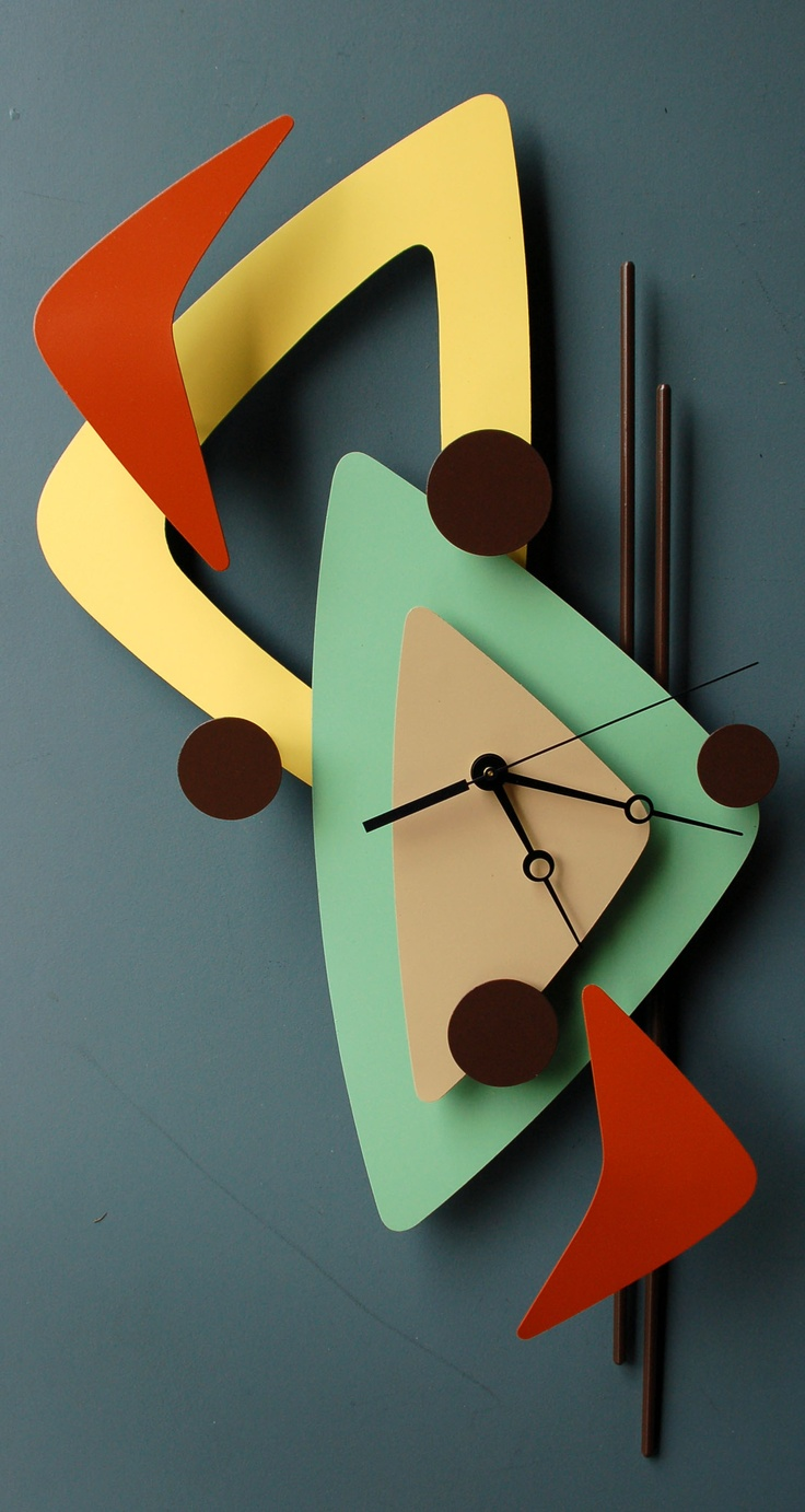 Googieinspired Modern Retro Metal Art Sculpture Clocks By Steve Cambronne Mid  Century