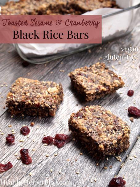 Toasted Sesame & Cranberry Black Rice Bars from <a href=