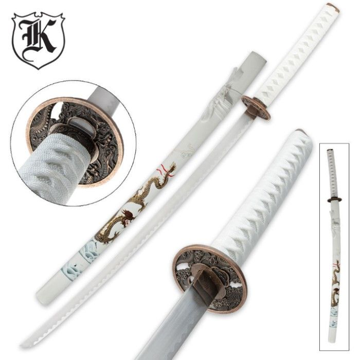 White Flying Dragon Katana Sword and Scabbard | BUDK.com - Knives & Swords At The Lowest Prices!