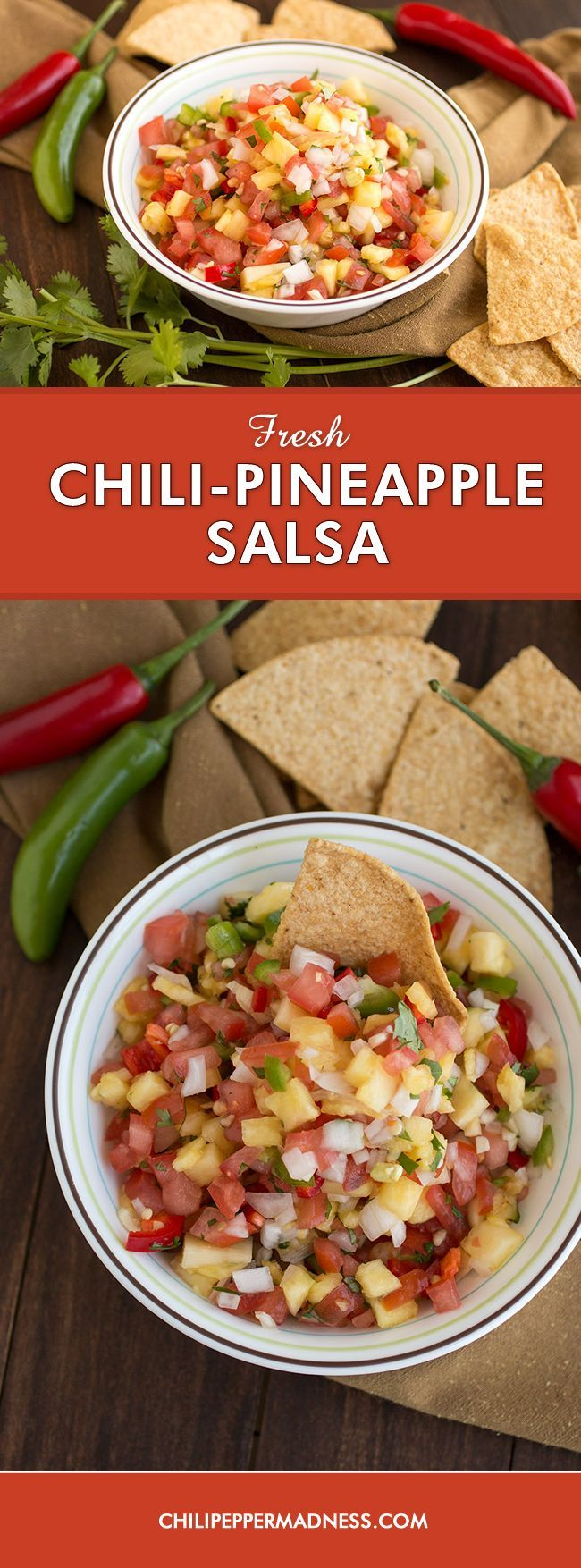 Fresh Chili-Pineapple Salsa - A quick and easy recipe for salsa made with sweet pineapple, juicy tomato and a variety of garden fresh chili peppers. Perfect as a healthy appetizer, snack, or as a topping for grilled meals.