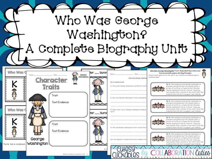 George Washington Biography Unit  Perfect For Presidentu0027s ...  George Washington Resume