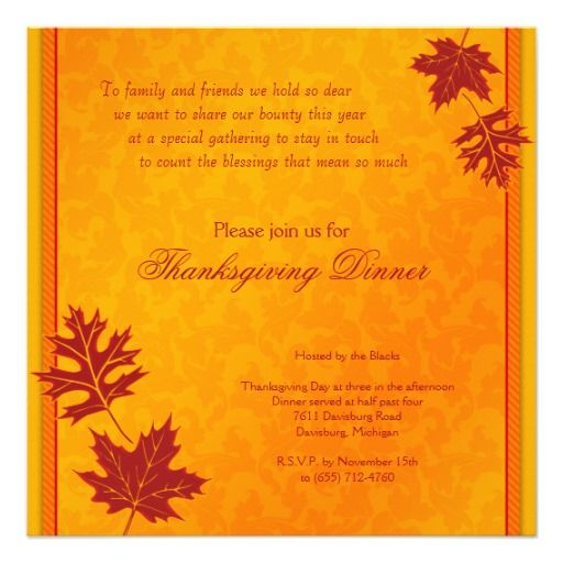 164 best thanksgiving birthday invitations images on pinterest thanksgiving dinner invitation stopboris Image collections