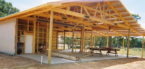 Pole Barn Construction by an owner builder. Building your own Pole Barn Home
