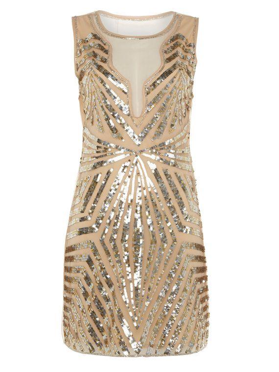 Uk12 Us8 Nude Blush Vintage Inspired 1920s Vibe Flapper Great Gatsby Beaded Robe Charleston