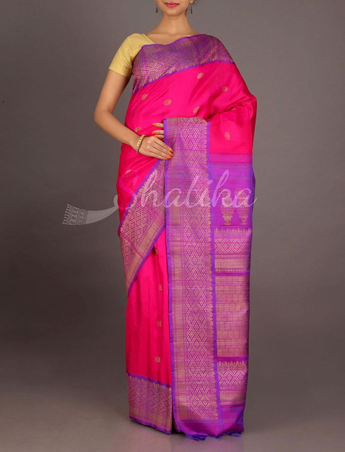 Radhika Cool Pink And Violet Diamond Border Jute Silk Saree
