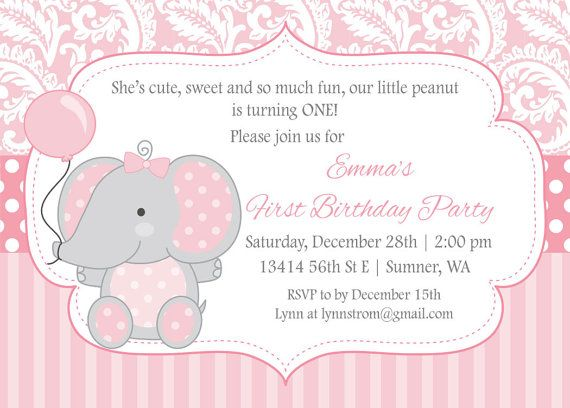 31 best images about Hannah Reece – Elephant Birthday Invitations