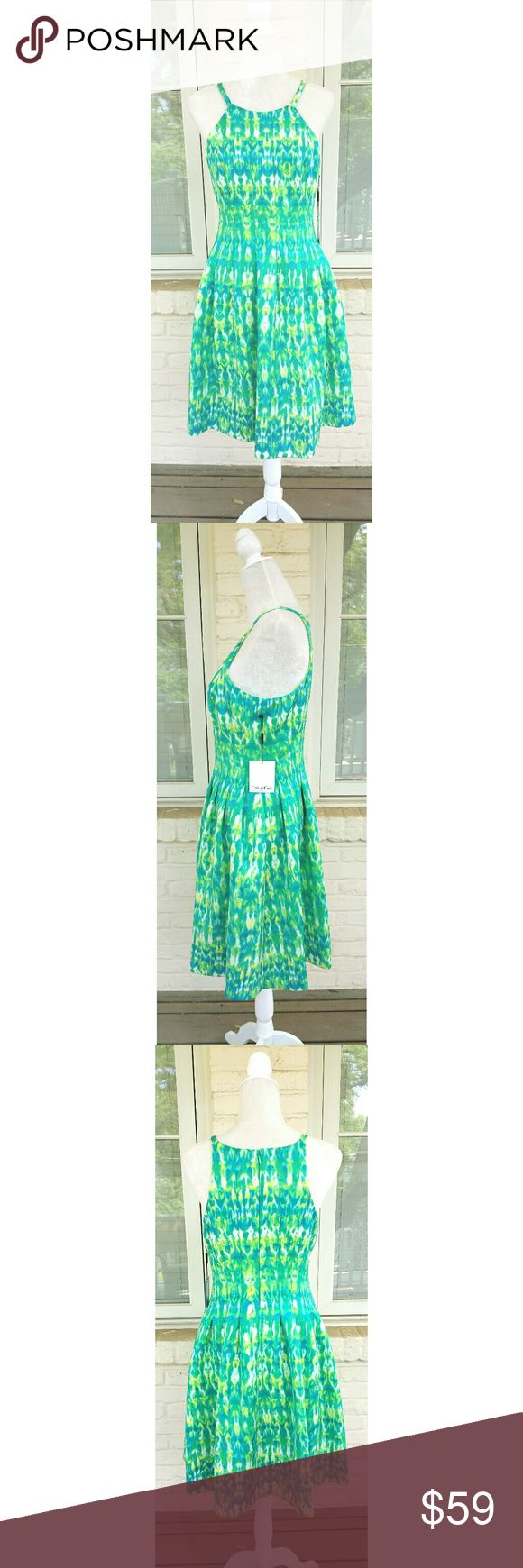 NWT, Calvin Klein Sleeveless Spring Dress Gorgeous, brand new Calvin Klein Spring dress is perfect for Easter! The colors are beautiful! Calvin Klein Dresses Midi