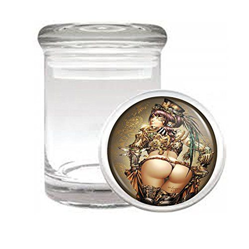 Medical Glass Stash Jar Sexy Pirate Pin Up Girl S4 Air Tight Lid 3