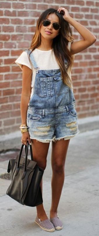 2839d295e6 cool outfit idea   bag + denim jumpsuit + white tee + loafers ...