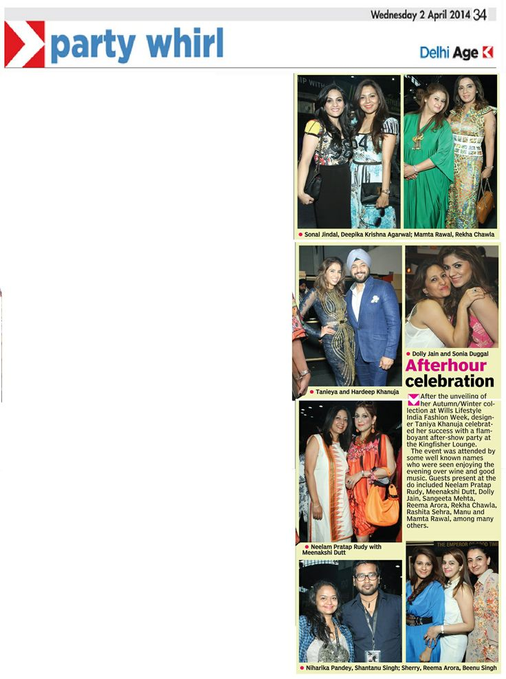 Designer Tanieya Khanuja_After show Party_Asian Age Coverage_2nd April'14