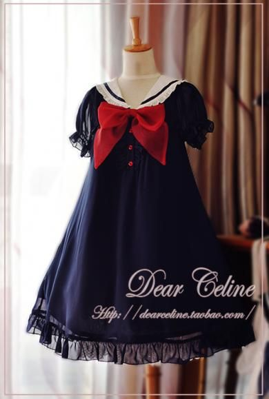 Dear Celine Sailor Style Dolly Onepiece (Navy) | CLOBBAONLINE