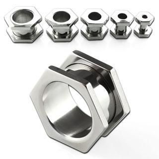 Style Sanctuary  - Surgical Stainless Steel Flesh Tunnel in Hexagon Screw Nut…