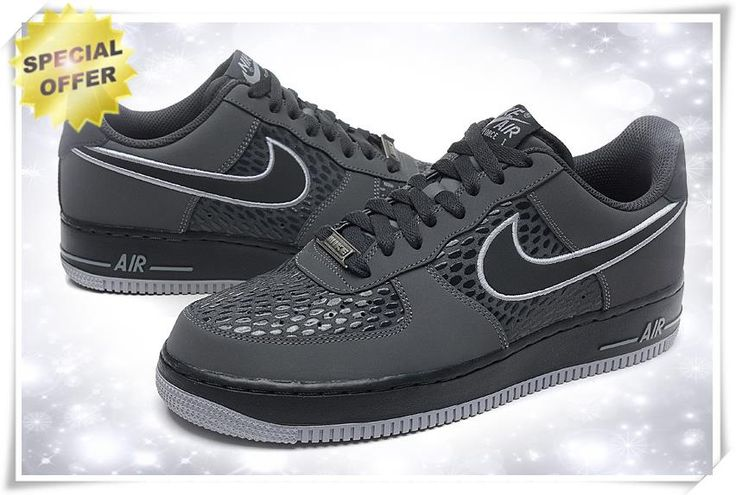 """Mens Nike Air Force 1 Low """"SCALES"""" Cool Grey/Anthracite-Wolf Grey 488298-044 Sneakers"""