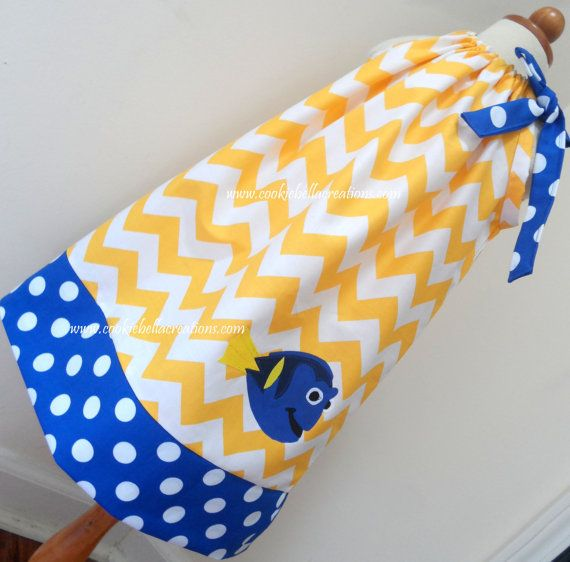 Dory from Finding Nemo Yellow Chevron and blue dot pillowcase dress. Perfect for Disney trip or birthday party for baby, toddler, and little girls.