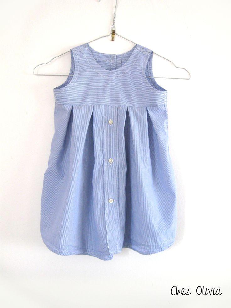 Mais ça c'était avant!! Maintenant c'est une robe en 12 mois. J'ai récupéré une vieille chemise de mon homme, tellement usée au col qu'on ne pouvait pas la donner. Le patron est celui de la robe fr...