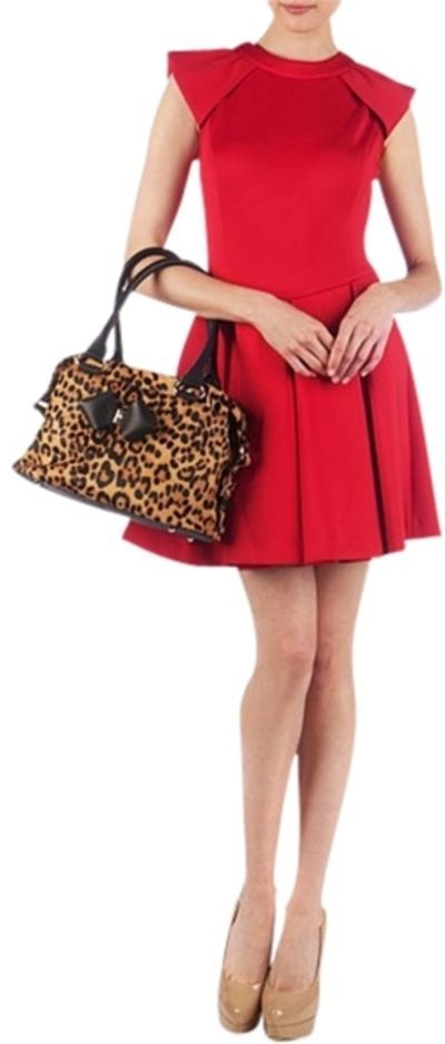 Love the red skater dress with the animal print bag!