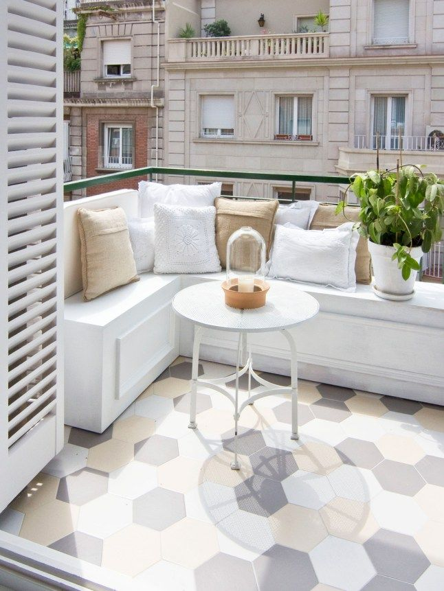 *Note: Love the white, but don't place the seats there. kids might climb over! [Cozy balcony decor #balcony]