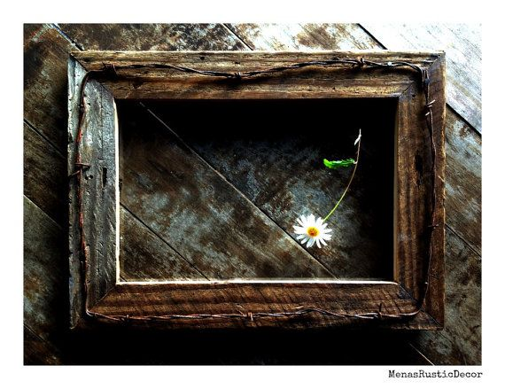 rustic barn wood frame with old western barbed wire 11x14 reclaimed