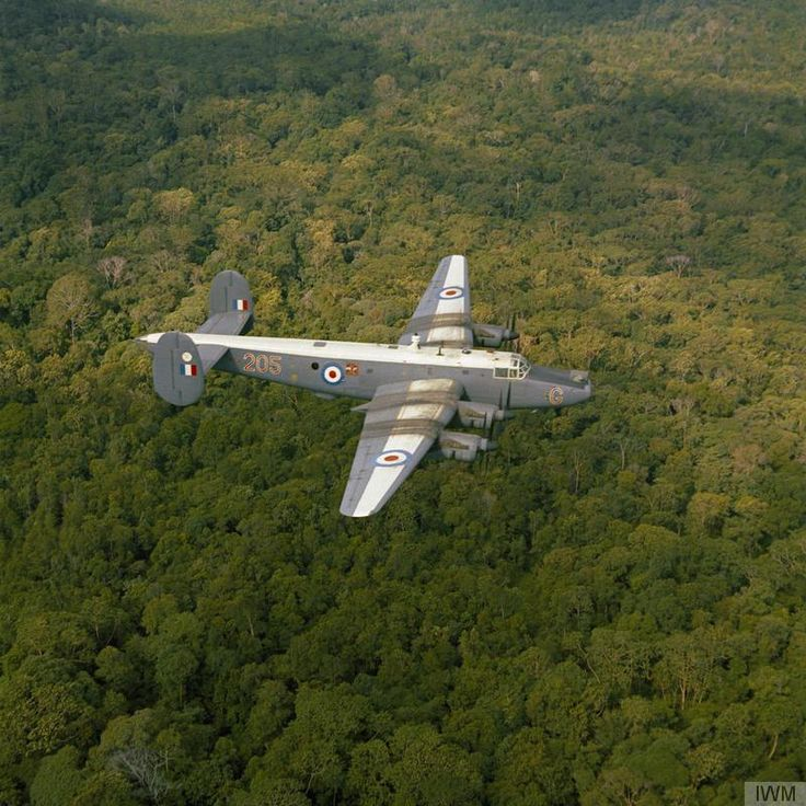 An Avro Shackleton MR.2 aircraft of No 205 Squadron RAF over the jungles of Labuan, Borneo during operations in the region.~ BFD