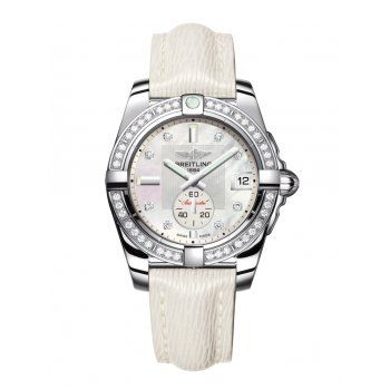 Breitling Ladies Galactic 36 Automatic White Leather Diamond Bezel Watch