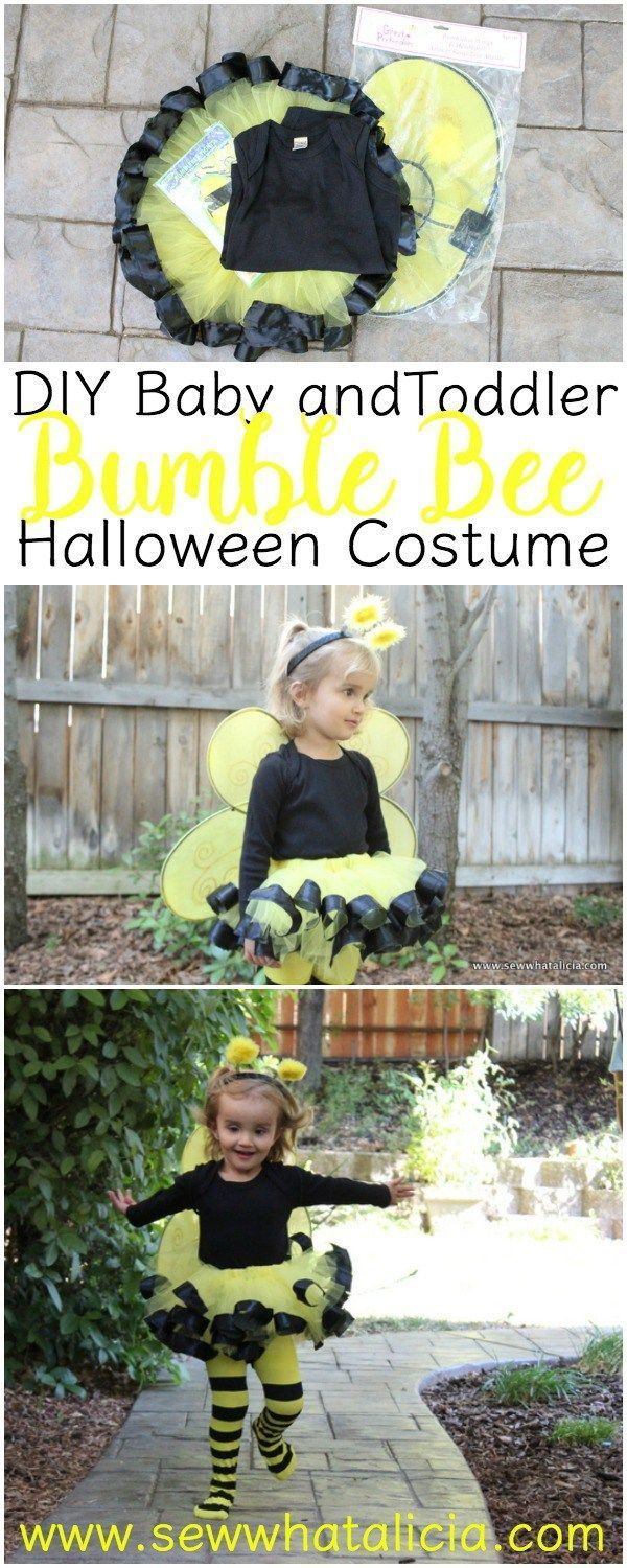 DIY Bumble Bee Costume for Babies and Toddlers | http://www.sewwhatalicia.com This bumble bee costume is perfect for Halloween your little one will be buzzing everywhere!!