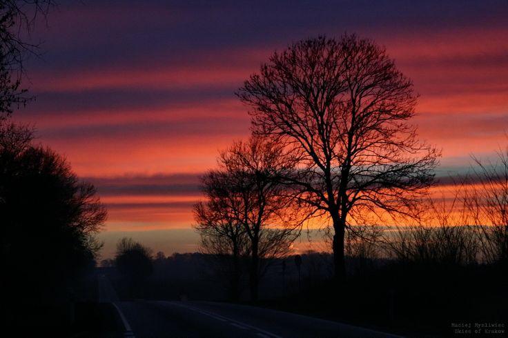 Sunset over the road between Krakow and Sandomierz