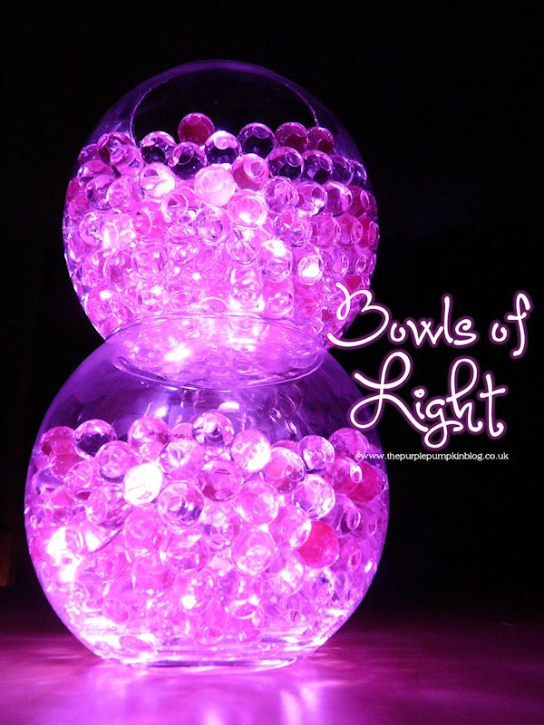 Bowls of Light | Gel Deco Beads & LED Lights | The Purple Pumpkin Blog
